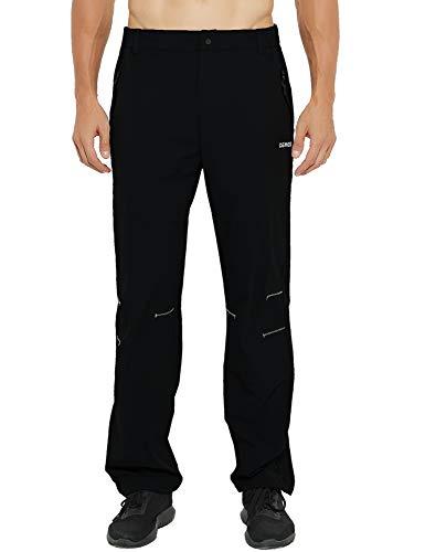 DEMOZU Men's Elastic Waist Travel Pants Lightweight Quick Dry Nylon Stretchy Work Pants with Zipper Pockets, Black, L