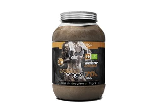 Energy Feelings Proteína Vegana Ecológica Sabor Chocolate, 70% Proteína de Arroz, Guisante y Calabaza, Sin Gluten, Sin Lactosa, Proteína en Polvo con Cacao, 1.5 Kg