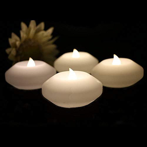 ARDUX LED Floating Candles, 3-inch Wax Waterproof Candle Tealight Night Light Flameless Candle with Battery-Powered for Wedding Party Decoration (Pack of 4) (Warm White)