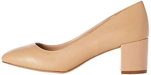 find. Round Toe Block Heel Leather Court Scarpe con Tacco, Beige), 38 EU