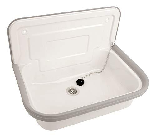 Calmwaters® - Weißes Ausgussbecken zur Wandmontage aus Stahl mit Spritzschutz und Ablaufstopfen, 50 cm - 05AP4683