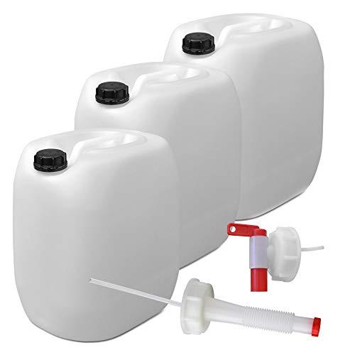 3er Stück Set: 30L Getränke- Wasserkanister Natur mit Hahn, Schraubdeckel und flexiblem Ausgießer (DIN 61) | Lebensmittelecht | Tragbar | Indoor und Outdoor | BPA Frei