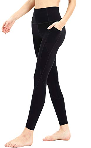 Persit Workout Leggings for Women with Pockets, Yoga Pants for Women High Waisted Athletic Gym Sport Yoga Leggings - Black - S