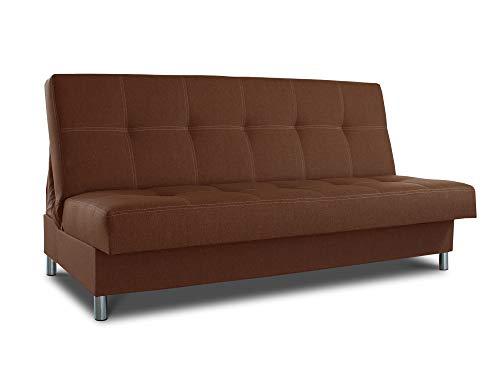 Schlafsofa Bella mit Schlaffunktion - 3 Sitzer Sofa, Couch mit Bettkasten, Bettsofa, Schlafsofa, Polstersofa, Couchgarnitur (Braun (Inari 24))
