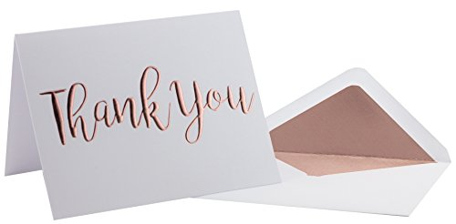 Thank You Cards - 20 Pack - Gold Foil Thank You on Heavyweight Linen Texture Cardstock - Box of 20 Premium Thank You Cards with 20 Foil Lined Envelopes (A2) 5.5 x 4.25