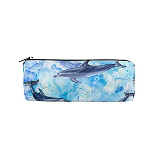 HaJie Estuche para lápices de acuarela, diseño de delfín, con cremallera, bolsa organizadora para niñas, niños, mujeres, hombres