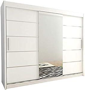 Kryspol Schwebetürenschrank Verona 2-250cm mit Spiegel Kleiderschrank mit Kleiderstange und Einlegeboden Schlafzimmer- Wohnzimmerschrank Schiebetüren Modern Design (Weiß)