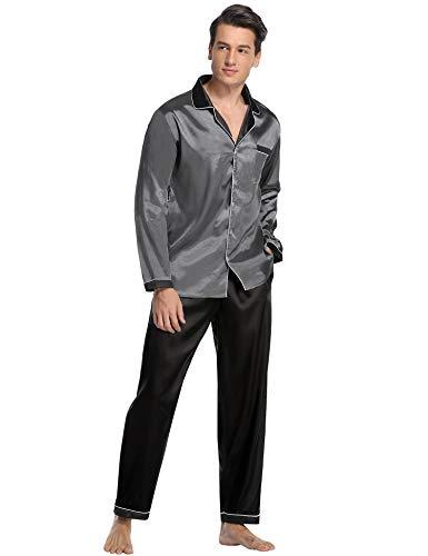 Aibrou Herren Satin Pyjama Set, Zweiteiliger Bedruckt Schlafanzug Langarm Shirt und Pyjamahose (M, (Satin) Dunkelgrau 2)