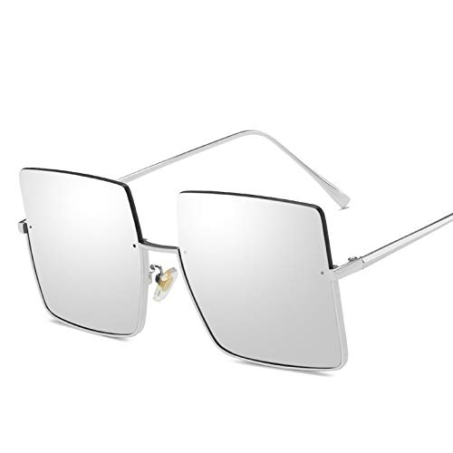 Moda Gafas De Sol De Metal Semi Sin Montura para Mujer, Gafas De Sol Cuadradas De Gran Tamaño Retro, Gafas De Sol Cuadradas De Gran Tamaño para Hombre, Gafas De Calle con Montura De Medio Me