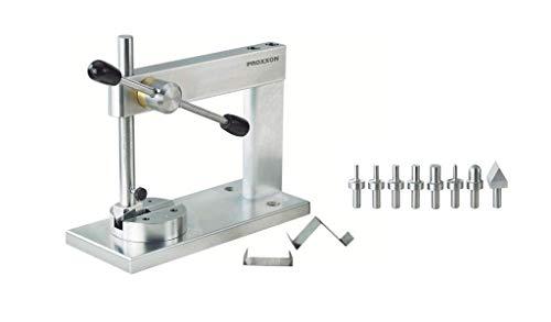 Proxxon 27200 Micro-Press MP 120 und 5 zylindrische Stempel, dazu je EIN Halbkugelprofil, Kantprisma, Revolverplatte, Presskraft Circa 1.000 N, Grundplatte aus Stahl, 100 kg, 80 x 190 mm