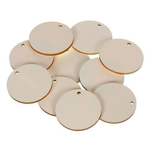 bütic GmbH Madera círculos Tamices con 1agujero–1–60cm Decoración Manualidades Decorar Mesas, Contrachapado, 50 unidades, Ø 23cm