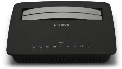 Linksys X3500-E1 AC750 ADSL2+ Modemrouter (750 Mbit/s, 4 Gigabit Ports, USB 2.0, Annex B für Deutschland), schwarz