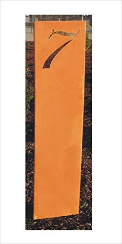 Jabo Design Rost Schild GA04 mit Wunsch - Hausnummer, 160 cm hoch (Höhe gemessen ohne die Stangen/Bodenstecker) rost Steele stecker gartenstecker