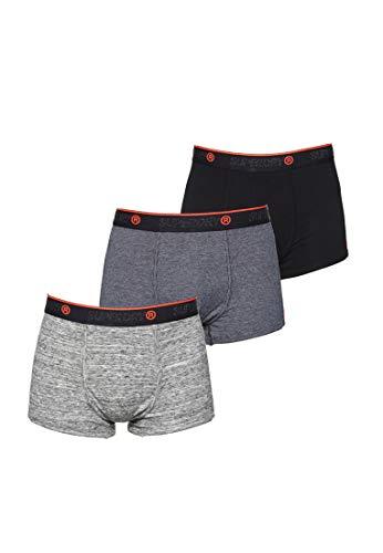 Superdry Herren O.L Sport Triple Trunk Boxershorts, Mehrfarbig (Black/Black Feeder/Flint Grey Grit Y6V), Large