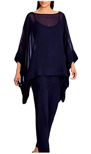Overlay Dresses for Women Three Pieces Pants Suits Sets for Mother of The Bride Evening Gowns Navy US18W (Apparel)