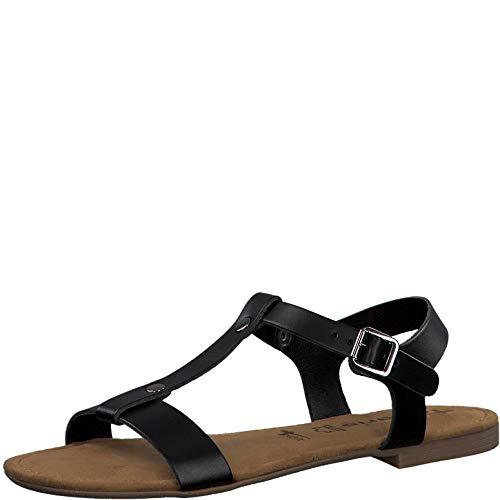 Tamaris Mujer Sandalias de Vestir 28149-24, señora Sandalia con Tiras, Sandalias con Correa,Zapatos de Verano,cómodo,Confort,Plana,Black,37 EU / 4 UK