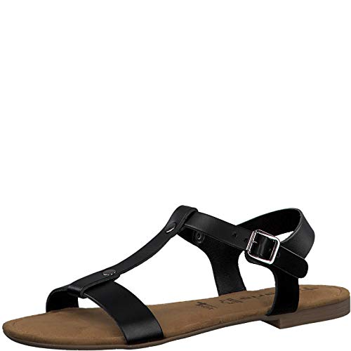 Tamaris Mujer Sandalias de Vestir 28149-24, señora Sandalia con Tiras, Sandalias con Correa,Zapatos de Verano,cómodo,Confort,Plana,Black,37 EU / 4 UK 🔥