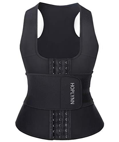 HOPLYNN Neoprene Sauna Sweat Waist Trainer Corset Trimmer Vest for Women Weight Loss, Waist Cincher Shaper Slimmer Black Medium