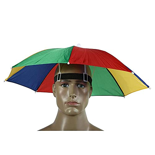 Paraguas Plegable arcoíris de 52 CM con Correa para la Cabeza de 30 CM Paraguas de Pesca Anti-UV Anti-Lluvia
