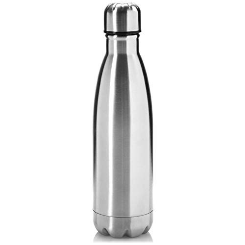 com-four® Botella para Beber de Acero Inoxidable de 500 ml - Termo de vacío de Doble Pared de Acero Inoxidable - Termo para Llevar - Botella Deportiva (Color Plata)