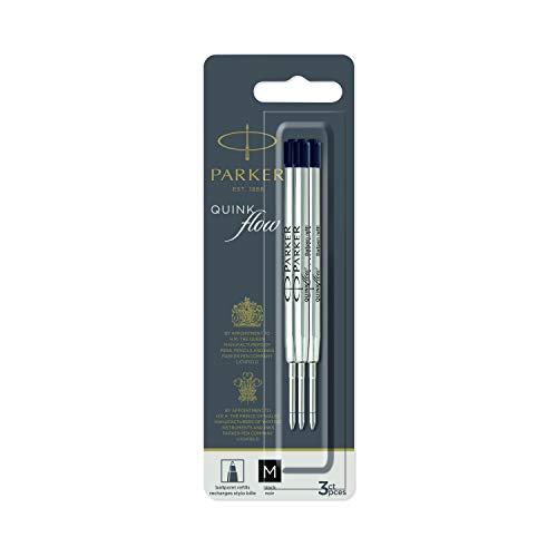 PARKER QUINKflow Recambios de tinta para bolígrafos | punta mediana | tinta negra | paquete de 3