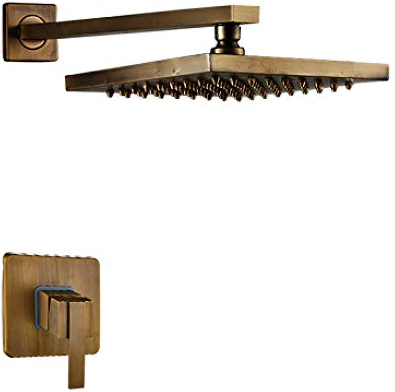 WG Luxury Antique Brass 8 Regen Square Style Badezimmer Dusche Wasserhahn Set Wand Montiert Mischer,A