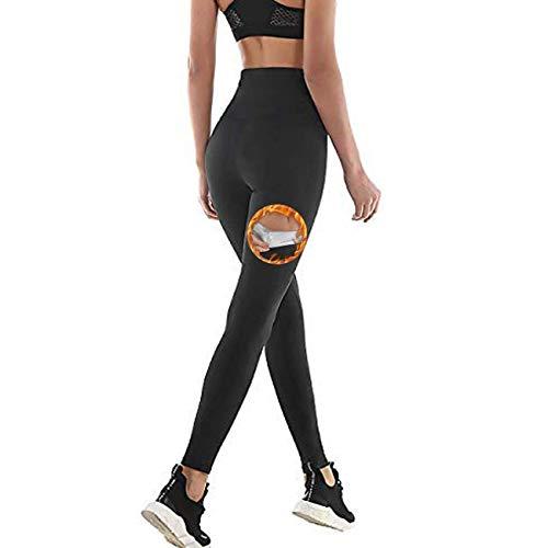 Pantalones de Sauna Adelgazantes Mujer NANOTECNOLOGÍA, Leggins Reductores Adelgazantes, Leggins Anticeluliticos Cintura Alta, Mallas Fitness Push Up para Deporte Running Yoga Gym (2XL, Negro)