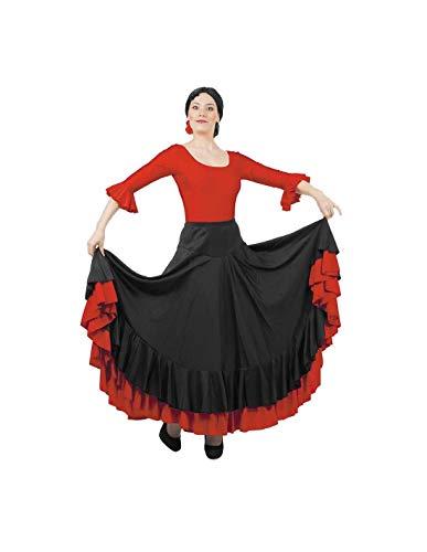 DISBACANAL Falda de andaluza - Negro Rojo, XL