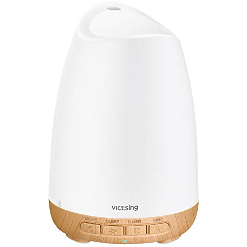 VicTsing Diffusor Aromatherapie, 150ml Aroma Diffuser für ätherische öle, Ultra Leise (21dB) Luftbefeuchter Ultraschall Vernebler, BPA-Free Öle Duftlampe Elektrisch mit 8 Farben LED, Schlafmodus-Gelb