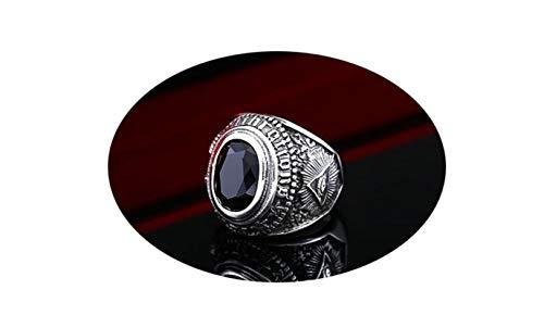 Amody Joyería Hombres anillos25MM Anillo gótico Cabra Negro Piedra Zirconia Negro Anillo de Acero Inoxidable para Hombre Tamaño 22