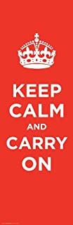 Culturenik Keep Calm and Carry On Vintage Art (Motivational, Red) Poster Print 12 x 36 Inch