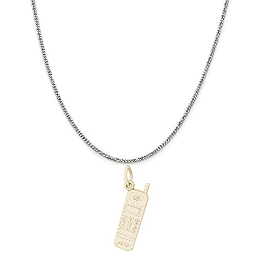 """Rembrandt Charms Two-Tone Sterling Silver Cordless Phone Charm on a Sterling Silver Curb Chain Necklace, 20"""""""