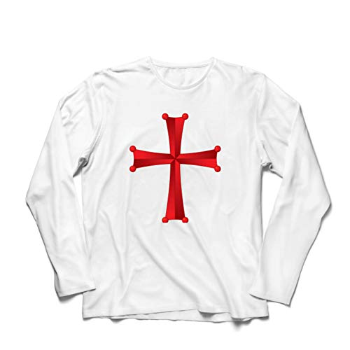 lepni.me Camiseta de Manga Larga para Hombre Orden del Templo de Salomón - La Cruz Roja de los Caballeros Templarios (Small Blanco Multicolor)