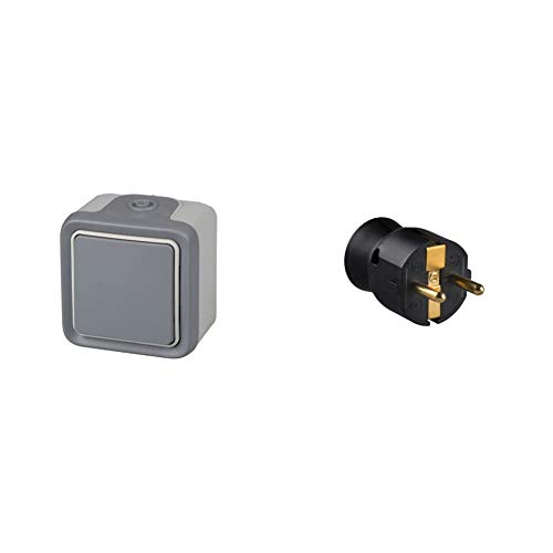 legrand 191501 Interruptor Conmutador Estanco de Superficie, Gris + 050177 Enchufe Móvil Sin Cable, 3680 W, 230 V, Negro