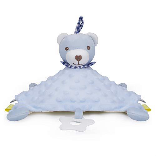 PomeloBaby Schnuffeltuch Minky Dots weich Schmusetuch Flauschiger Kuscheltier für Babys ab dem 1. Monat (Hellblau Bärchen)