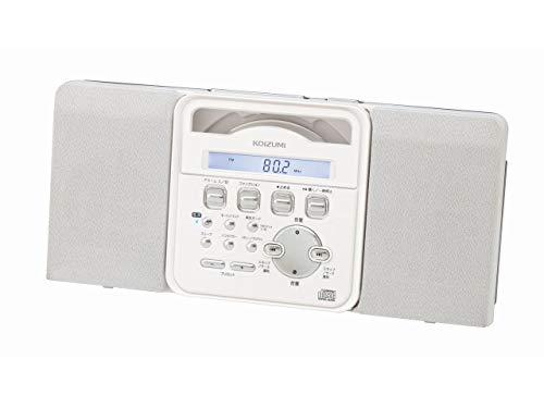 コイズミ ステレオCDシステム コンパクト 薄型 壁掛け可 ホワイト SAD-4343/W