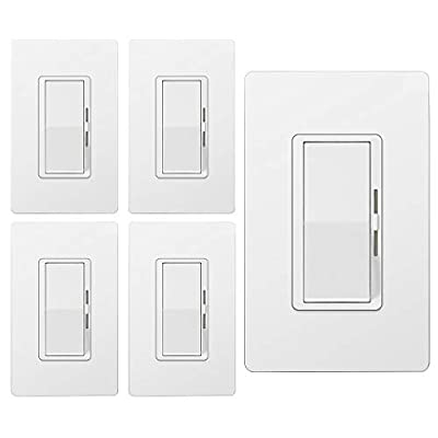 [5 Pack] BESTTEN Dimmer Light Switch, Single Pole or 3 Way, for Dimmable LED Lights, CFL, Incandescent, Halogen Bulbs, Precise Lighting Control, Screwless Wallplate Included, UL Listed, White