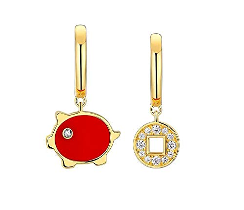 Jambala S925 Silver Small Red Pig Series Earrings Female Temperament Senior Feeling Birthday Valentine's Day Gift to Send Girlfriend Earrings Set (Color : Red pig ear buckle)