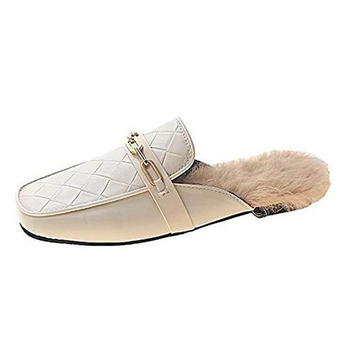 SHOE Zapatillas para Mujer, Zapatillas Esponjosas, Zapatillas Antideslizantes Resistentes Al Desgaste, Zapatillas para Mujer,Beige,39