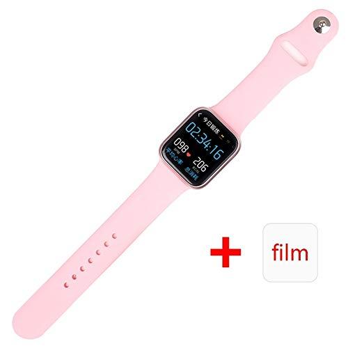 ESEED P90 slimme horloge mannen IP68 waterdicht full touch screen ondersteuning draadloos opladen P80 P70 P68 smartwatch Versiecontrole (Color : Silicone Pink)
