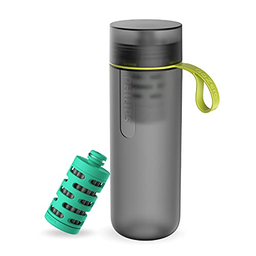 Philips - AWP2722 - Botella Filtro de Agua Go Zero Active, Modelo Adventure, Elimina el cloro y mejora el sabor, Libre de BPA, 600 ml, Gris