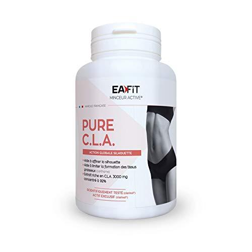 EAFIT Pure CLA - Aide à affiner la silhouette - 90 gélules - Programme 15 j - Limite la formation des tissus graisseux - Action global sur la silhouette - 3000mg concentré à 92% - Marque française