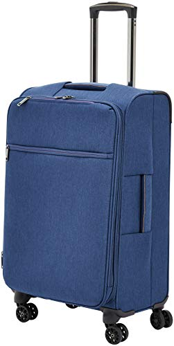 Amazon Basics – Maleta con ruedas flexible acolchada Belltown, 68 cm, Azul marino
