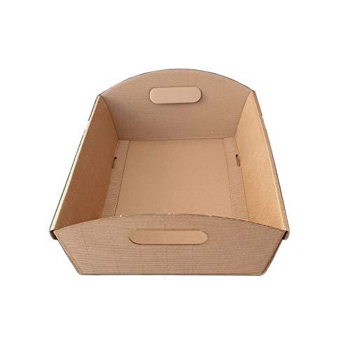 10 Pz Cesto Carta Cartone Onda Avana Medio 370x265H100 mm Strenne Cesti Natalizi di Natale Regalo Enogastronomia Average Brown Cardboard Box