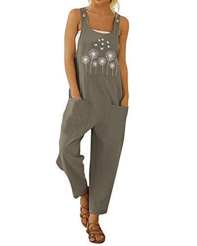 VONDA Monos Mujer Verano Petos Elegante Pantalones Mujer Jumpsuits Casual Estampado Floral Vestir Trabajos con Bolsillo B-Caqui M