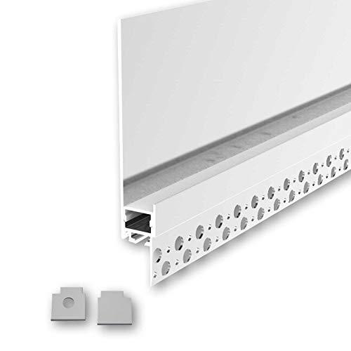 RUBI (RB) Trockenbau Profil Aluminium 2m eloxiert | Trockenbau leiste für Led Streifen bis 1,3cm Breite | Trockenbauschiene + Acryl Abdeckung milchig weiß (opal) + Endkappen |Aluprofil belastbar