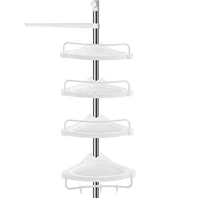 SONGMICS Tension Shower Caddy, Rust-Proof Corner Shower Shelf, 304 Stainless Steel Pole, Adjustable Bathroom Shelf, 37.4-118.1 Inches, with 4 Trays, 3 Hooks, 1 Towel Bar, UBCB02SW