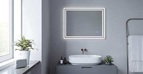 AQUABATOS® 80x60 60x80 cm LED Badspiegel mit Beleuchtung lichtspiegel Antifog Badezimmerspiegel Beheizt Touch Dimmbar Kaltweiß 6400K Beschlagfrei Antibeschlag IP44 CE