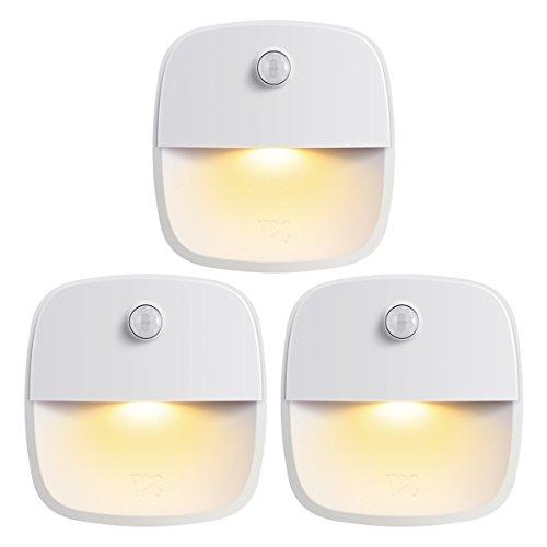 Criacr Bewegingssensor Nachtverlichting, LED Kastverlichting met Verwijderbare magneet Kleefkast, Kledingkast, Kast, Slaapkamer, Keuken, Trap (3 Packs, Warm Wit)