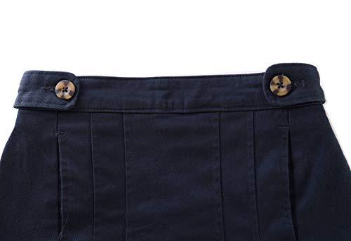 Bienzoe Niña Algodón Elástico Cintura Colegio Plisado Falda Marina XS